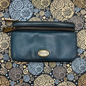 Fossil Genuine Leather Turquoise Wallet Clutch